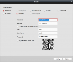 iVMS-4200 Device Management Modify IP-Domain screen
