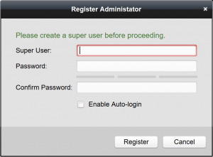 iVMS-4200 Register Administrator before proceeding screen