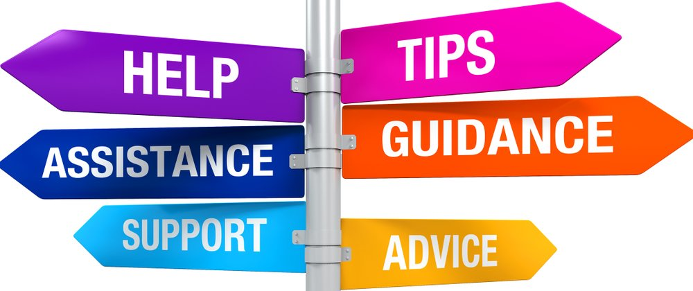 Sign with Directions - Help Tips Assistance Guidance Support Advice