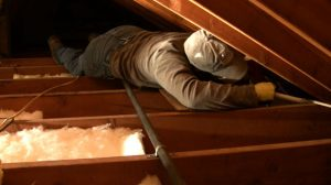 Attic work laying on studs