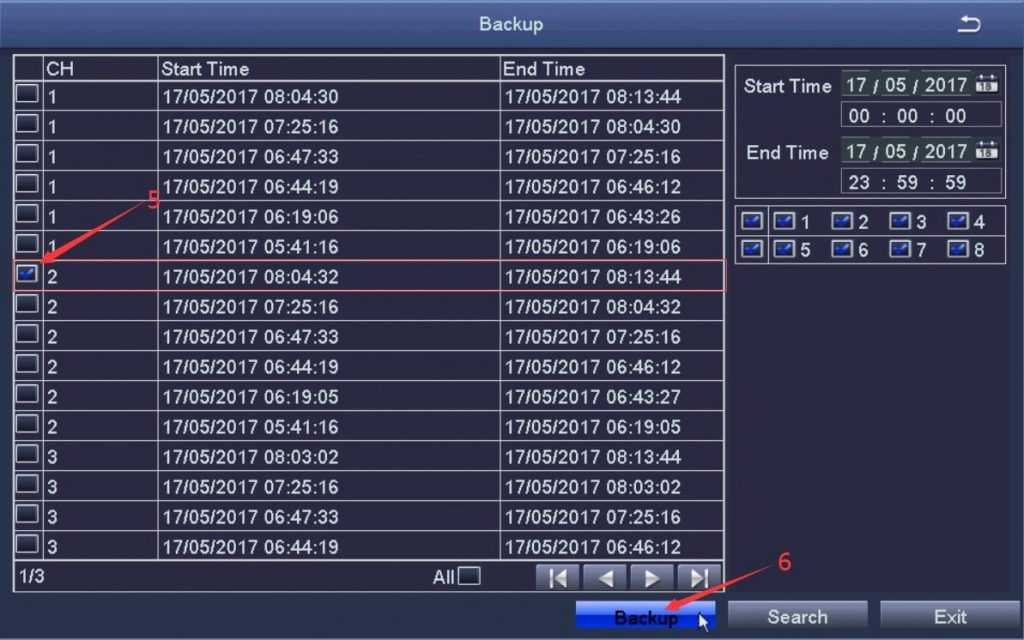 CITS-ZOSI DVR Backup screen (Backup) showing file recordings