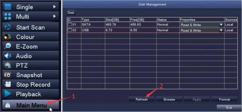 CITS-ZOSI DVR Disk Management screen (Disk Management) showing USB drive