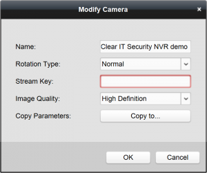 iVMS-4200 Device Management Group Modify Camera Stream Key screen